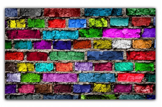 Tableau pop art mur de briques multicolore 80x55 cm tableaux pop art pas cher - Tableau colore pas cher ...