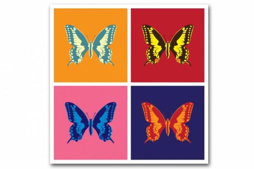 Tableau Pop Art Papillon 4 Couleurs 50x50 Cm Tableaux Animaux Pas Cher
