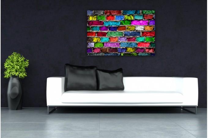 tableau pop art mur de briques multicolore 80x55 cm tableaux pop art pas cher. Black Bedroom Furniture Sets. Home Design Ideas