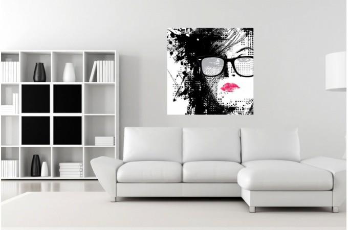 Tableau pop femme graphique rose et noir 50x50 cm ebay for Tableau noir et rose