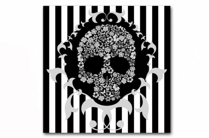Tableau baroque rayures blanches et noires t te de mort - Tableau tete de mort castorama ...