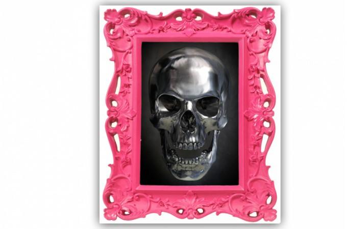 tableau baroque t te de mort rose 55x80 cm tableaux rock. Black Bedroom Furniture Sets. Home Design Ideas
