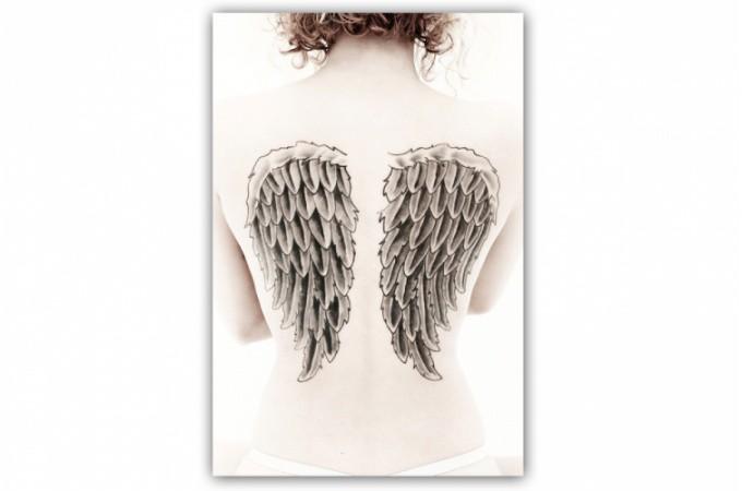 Tableau gothique ailes d 39 ange sur le dos 55x80 cm for Tableau aile d ange