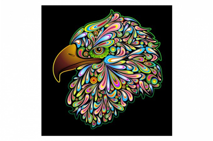 Declikdeco  Tableau rock Aigle multicolore 60x60 cm