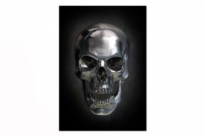 Tableau Rock T Te De Mort Argent E Fond Noir 55x80 Cm