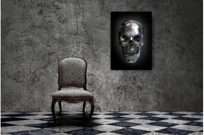 tableau rock t te de mort argent e fond noir 55x80 cm. Black Bedroom Furniture Sets. Home Design Ideas