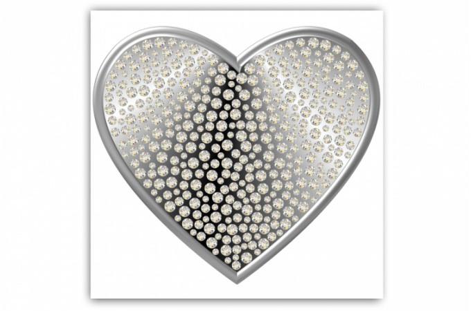 Tableau romantique coeur argent et strass 80x80 cm for Tableau pour chambre romantique