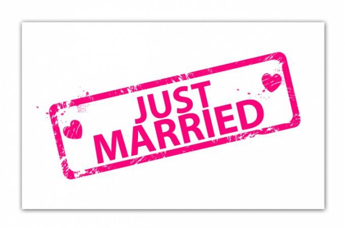 Declikdeco  Tableau romantique Just married 80x40 cm