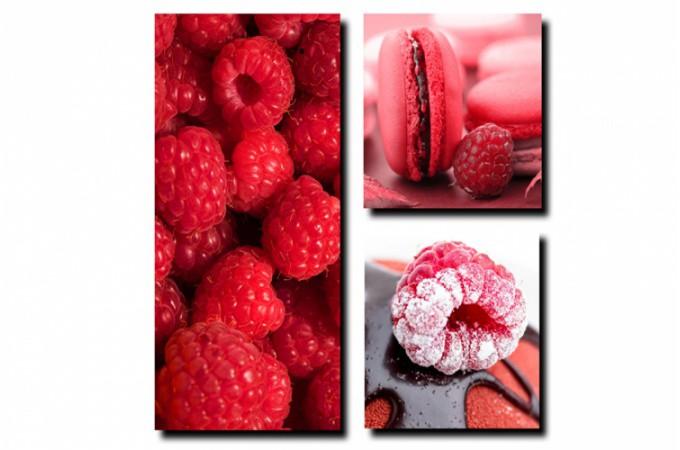Tableau triptyque gourmand fruits rouges tableaux for Deco cuisine framboise
