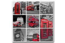 Tableau British London City Patchwork 60X60 cm - Tableau ville