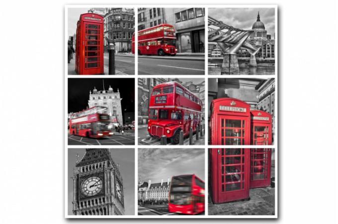 Tableau british london city patchwork 80x80 cm tableaux for Tableau londres noir et blanc