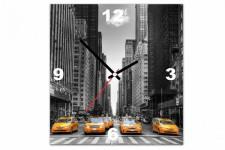 Horloge Design Tableau Horloge Villes Taxi Dans New York 30X30 cm, deco design