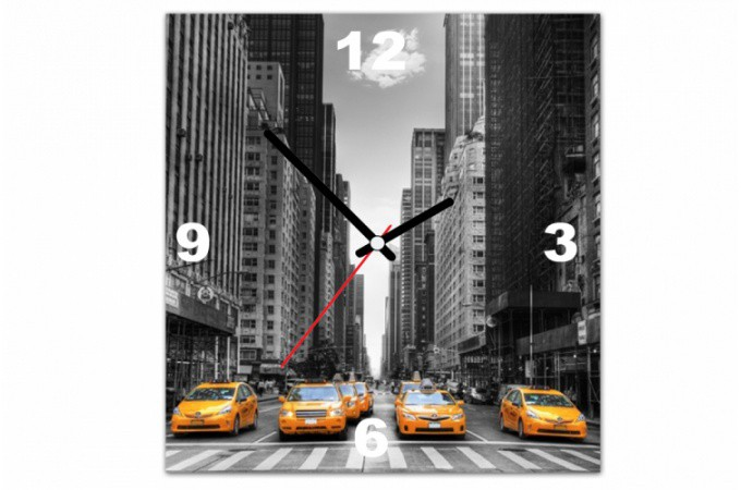 tableau horloge villes taxi dans new york 30x30 cm horloges design pas cher. Black Bedroom Furniture Sets. Home Design Ideas