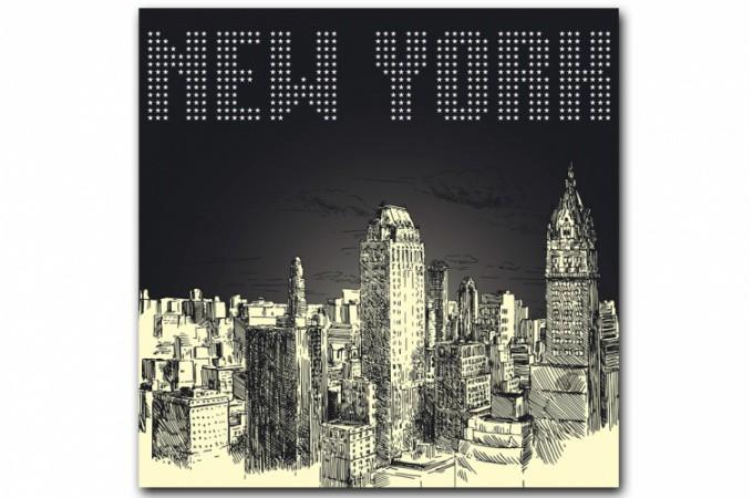Tableau new york by night 80x80 cm tableaux villes pas cher for Decoration murale new york pas cher