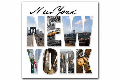 Tableau New York Lettres Panorama 80X80 cm