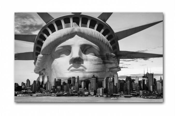 Tableau new york libertad noir et blanc 80x55 cm tableaux villes pas cher - Tableau noir et blanc new york ...