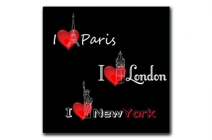 Tableau new york paris londres voyage 60x60 cm tableaux for Tableau paris londres new york