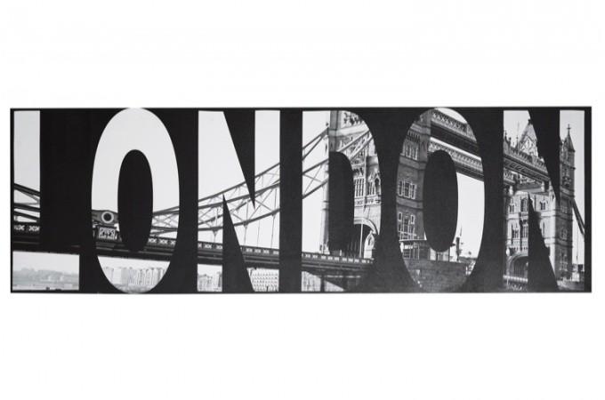 tableau noir et blanc london 45 x 140 cm
