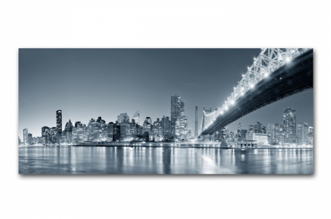 tableau panoramique new york by night 90x30 cm tableaux. Black Bedroom Furniture Sets. Home Design Ideas