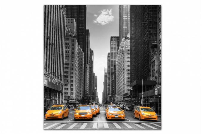 Tableau villes taxi dans new york 80x80 cm tableaux - Tableau deco new york ...