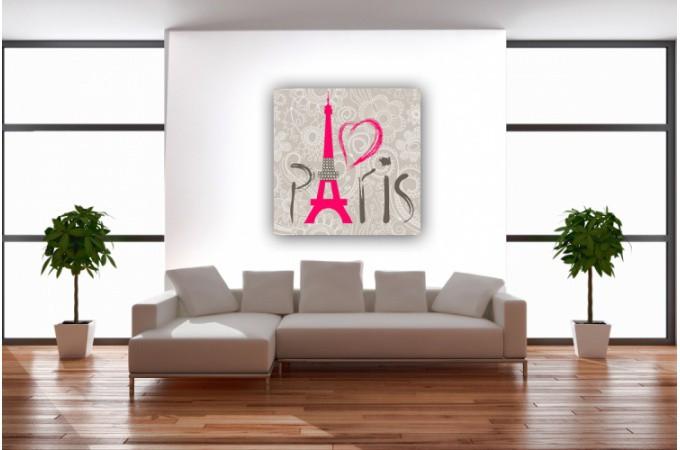 Tableau villes paris amour 50x50 cm tableaux villes pas cher for Decoration murale ville