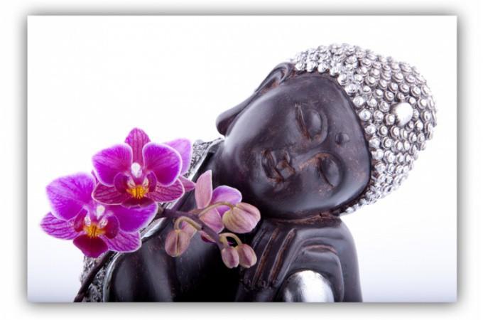 Tableau zen bouddha et fleur 80x55 cm tableaux zen floral pas cher - Tableau asiatique pas cher ...