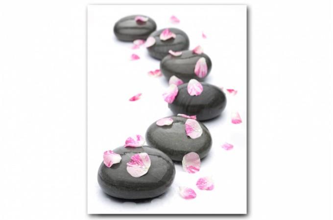 Tableau zen chemin de galets fleuris 55x80 cm tableaux zen floral pas - Tableau asiatique pas cher ...