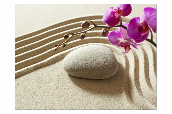 Tableau zen galet de sable et orchid e 55x80 cm tableaux for Image galet zen