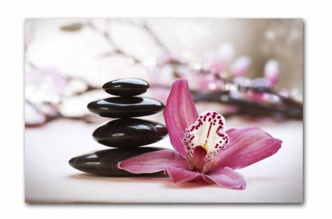 Tableau zen galets en pyramide avec fleur rose x for Image galet zen