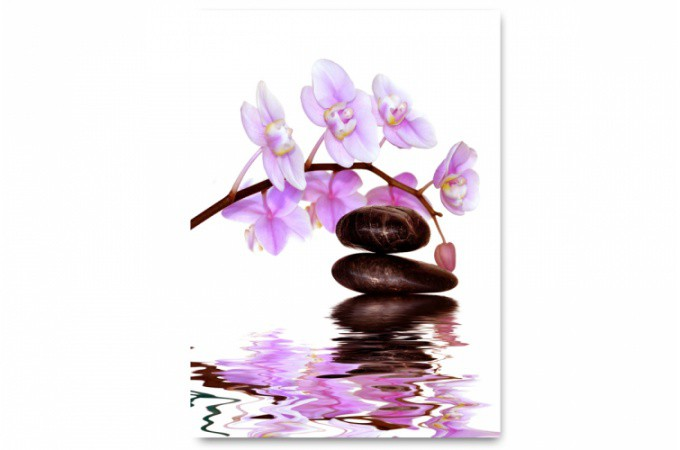 Tableau zen pierre et orchid e rose 55x80 cm tableaux zen floral pas - Tableau asiatique pas cher ...