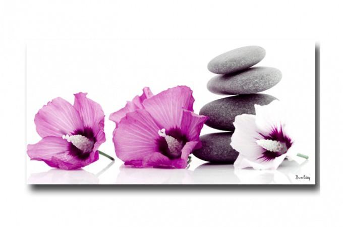 tableau zen trois fleurs 40x80 cm tableaux zen floral pas cher. Black Bedroom Furniture Sets. Home Design Ideas