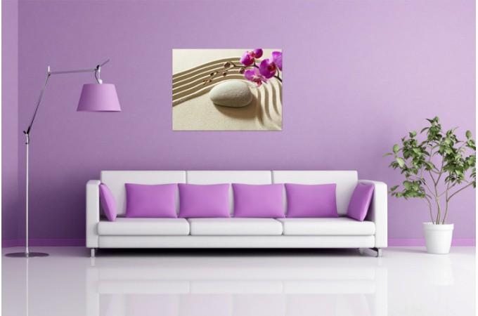 Tableau zen galet de sable et orchid e 55x80 cm tableaux - Faire un tableau avec des galets ...