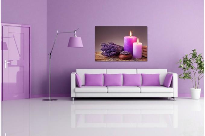 Tableau zen bougie et lavande 80x55 cm tableaux zen floral pas cher - Objet de decoration design pas cher ...