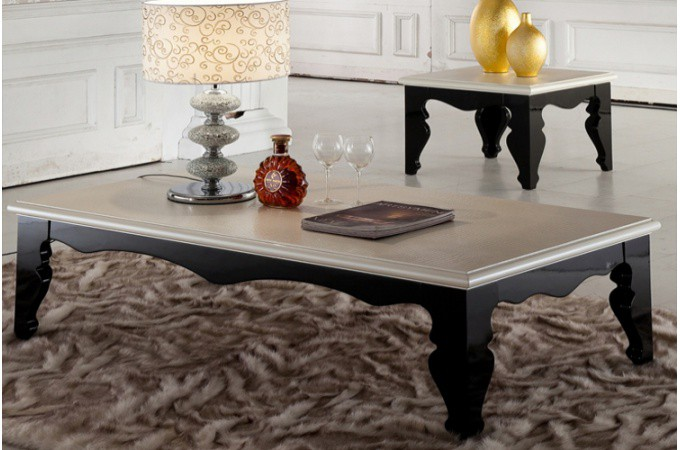 table basse baroque croco noir et taupe kimo design declikdeco. Black Bedroom Furniture Sets. Home Design Ideas