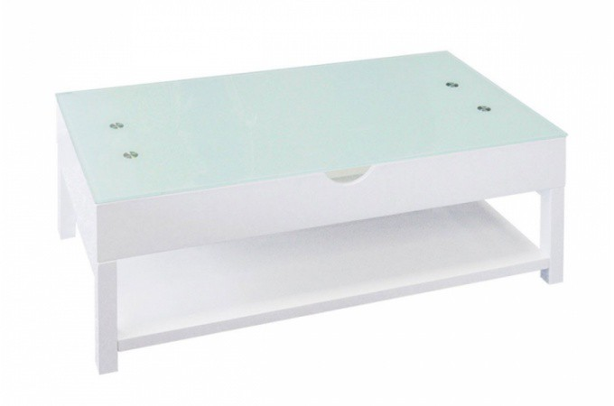 Table basse relevable blanche pas cher - Table basse blanche relevable ...