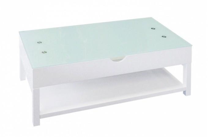 Table basse blanche avec plateau relevable table basse - Table basse blanche plateau relevable ...