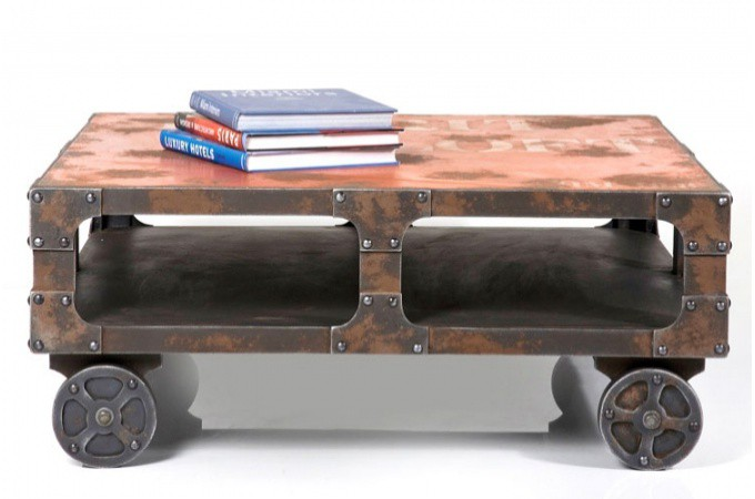 Table basse chariot en fer ontario table basse style industriel declikdeco - Decoration industrielle pas cher ...
