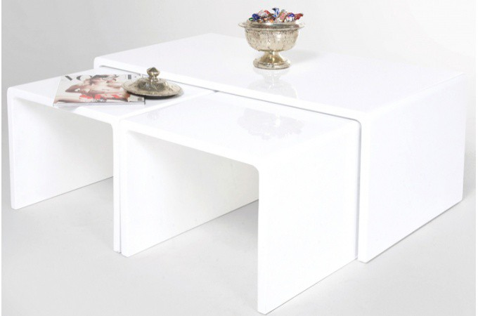 table basse gigogne laqu e blanche roxane declikdeco. Black Bedroom Furniture Sets. Home Design Ideas