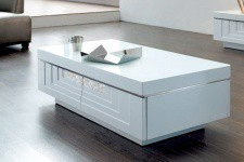 Table basse laquée blanche Hudson - Table basse blanche design
