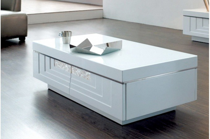 Table basse blanche laqu e pas ch re - Table basse blanche et verre ...