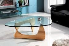 Table Basse Pieds en Bois Plateau en Verre Bamka, deco design