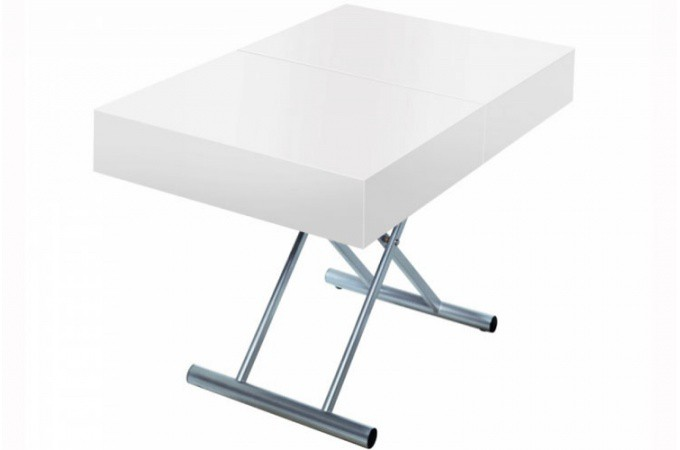 Table basse relevable rallonge blanc laqu extencia for Table basse laquee blanc pas cher