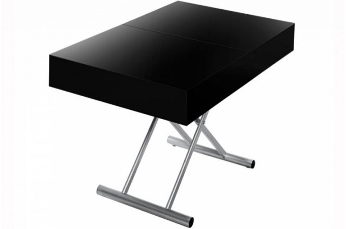 Table basse relevable rallonge noir laqu - Table relevable rallonge ...