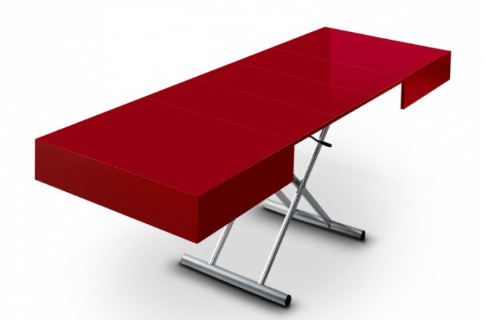 Table basse relevable rallonge rouge laqu extencia for Table basse rouge