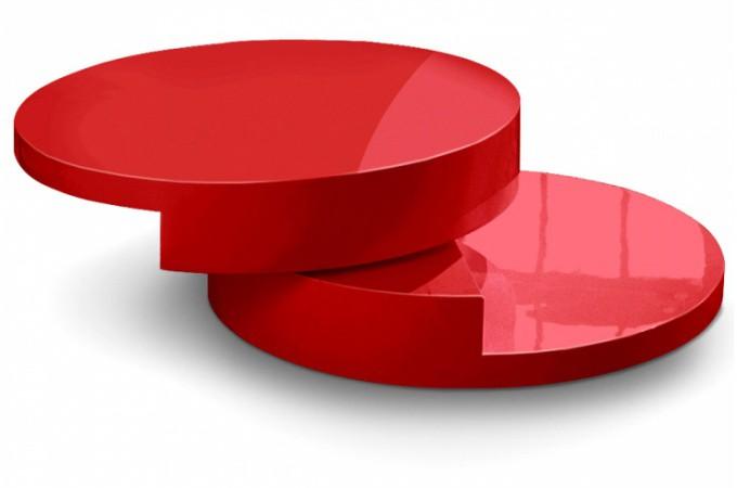 Table basse pivotante rouge laqu e achat table basse for Table basse rouge
