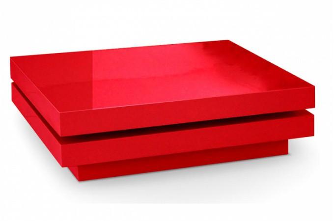 table basse rouge laqu e pivotante. Black Bedroom Furniture Sets. Home Design Ideas