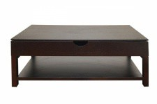 Table basse wengé avec plateau relevable - Table basse design