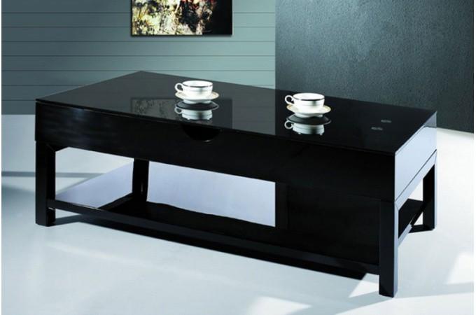 Table basse noire avec plateau relevable table basse pas for Table basse scandinave noire pas cher