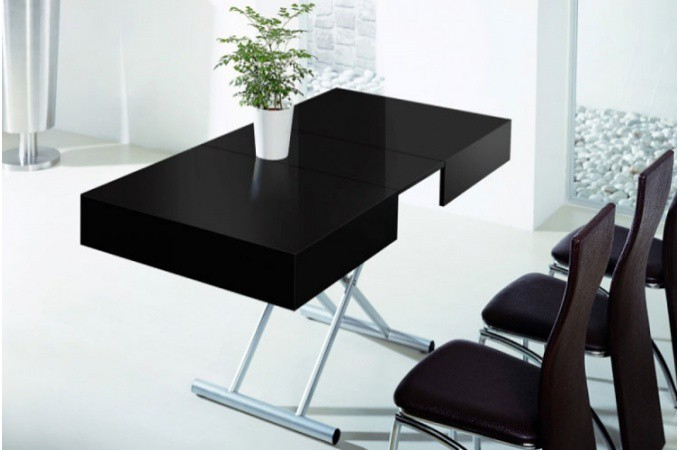 Table basse relevable rallonge noir laqu for Table rallonge noire