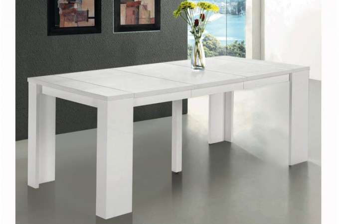 table extensible blanc bois table de lit. Black Bedroom Furniture Sets. Home Design Ideas